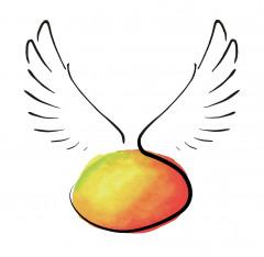 farbige Mango mit Flügeln Logo (DPMA, 2019)